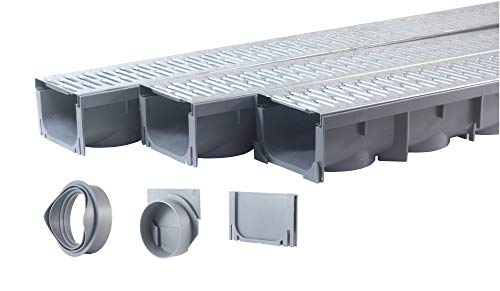 """Drainage Trench - Channel Drain With Galvanized Steel Grate - 3 x 39"""" - (117"""" Total Length)"""