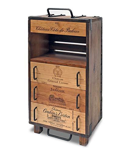 Formitable Kommode mit 4 Schubladen aus restaurierter Wein-Schwenkkiste, altes Massivholz und Metallelemente aufgearbeitet, B/H/T 50x95x32cm, UPCYCLING