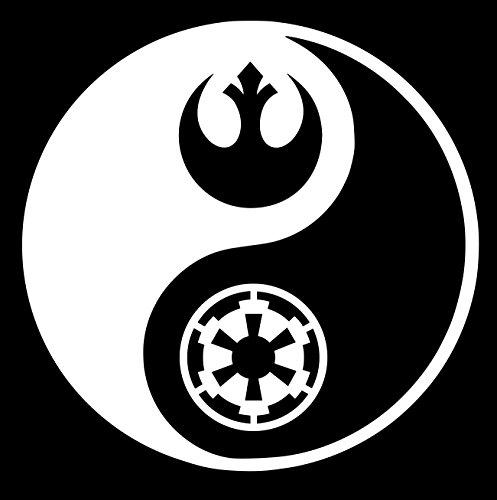 UR Impressions Rebel and Empire Logo Yin Yang Decal Vinyl Sticker Graphics for Cars Trucks SUV Vans Walls Windows Laptop|White|5.5 inch|URI206