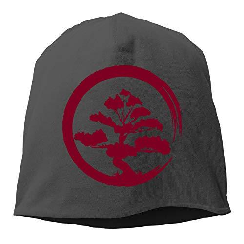 Unisex Breathable Knitted Hat, Bonsai Tree Skull Cap for Mens & Womens Black