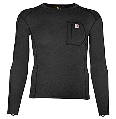 Carhartt Men's Size Force Heavyweight Thermal Base Layer Long Sleeve Pocket Shirt, Black Heather, X-Large Tall