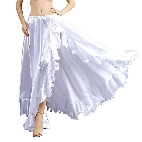 ROYAL SMEELA Gonna a Danza del Ventre per Donne Costume di Danza del Ventre Flamenco Ruffles Big Swing Gonne Mascherata Vita Elastica Alta Fessura Maxi Gonna Ampia Abito