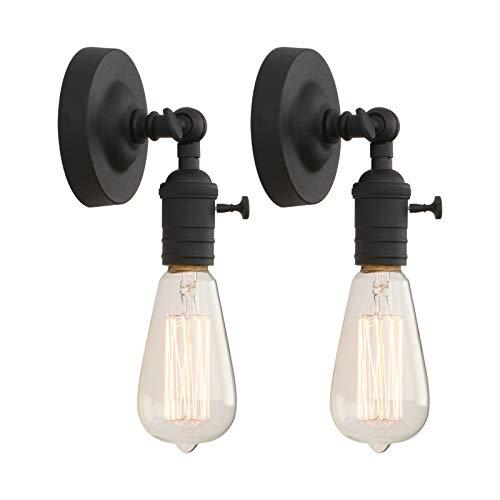 Phansthy 2 Stücke Vintage Industrie Loft-Wandlampen Wandbeleuchtung Wandleuchten Antik Deko Design Wandbeleuchtung Küchenwandleuchte (Schwarz Farbe)