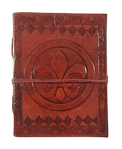 Kooly Zen – Cuaderno de diario, libro, álbumes, libro de invitados, cuaderno de dibujo, scrapbook, trepador, piel auténtica, flor de lis, vintage, 13 cm x 17 cm, 240 páginas, papel premium