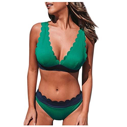 BALABA❥Women's Sexy Deep V Neck Comfy Bikini Swimsuit Padded Summer Beach Swimwear Bathing Suit 2 Pieces Set Beachwear Green