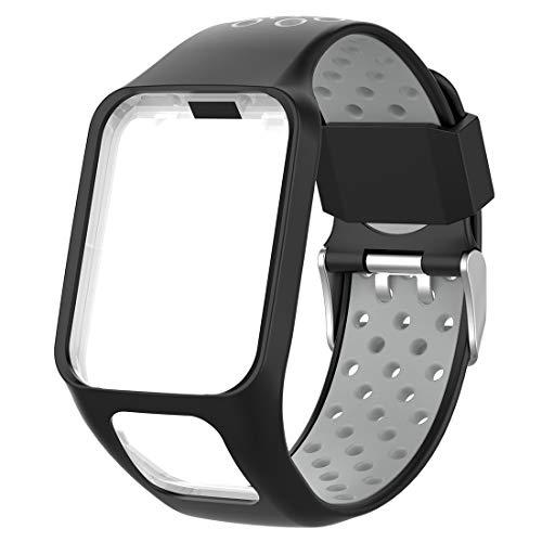 AWADUO Dual-Colors Replacement Silicone Wrist Band Strap for Tomtom Runner 3/ Tomtom Runner 2/ Tomtom Adventurer/Tomtom Golfer 2/ Tomtom Spark/Tomtom Spark 3(Silicone Black + Gray)