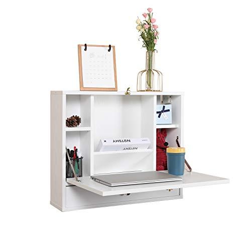 Mesa montada en la pared, multifuncional plegable para ordenador portátil, montaje en pared, escritorio con compartimentos de almacenamiento y cajón para el hogar, la oficina, espacios pequeños