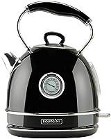 Bourgini Nostalgic Thermo Water Kettle Black - Waterkoker - Retro - temp aanduiding - 1.7L - zwart
