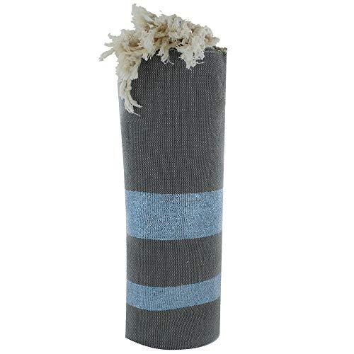 LES POULETTES Fouta Badetuch Taupe Baumwolle und Blau Lurex Streifen