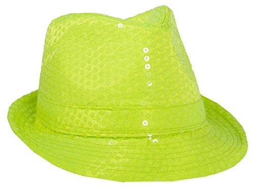 Folat 24055 Tribly Party hoed Deluxe met pailletten, unisex volwassenen, neon geel, eenheidsmaat