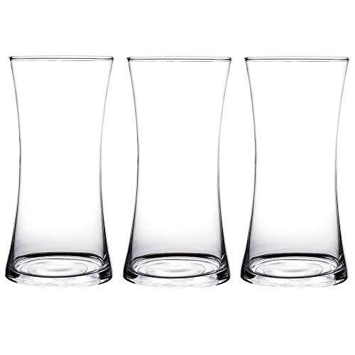 KnikGlass Lot de 3 vases en verre Transparent Hauteur 25 cm Diamètre 12 cm