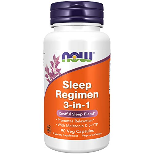 Now Foods Sleep Regimen 3-in-1, With Melatonin, 5-htp and L-theanine, Restful Sleep Blend, Veg Capsules, 90 Count