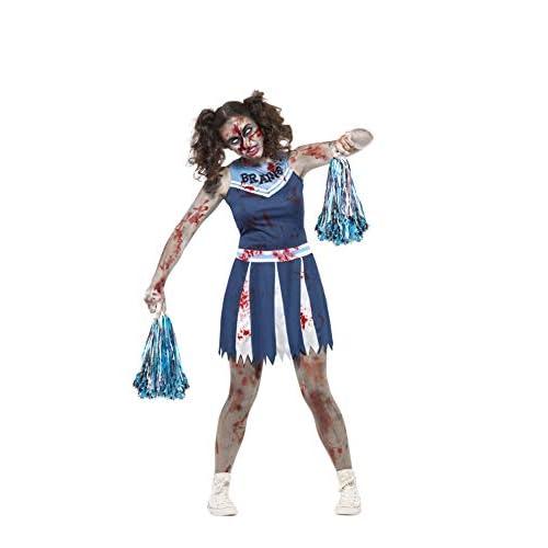 Smiffys Costume Cheerleader zombie, Azzurro, con abito e pon-pon