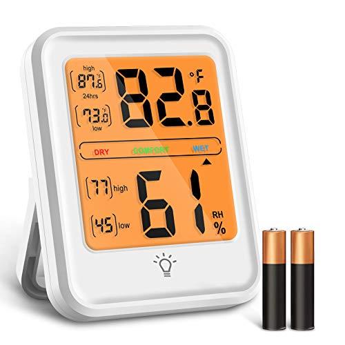Termómetro Higrómetro Digital, Medidor Temperatura y Humedad con Pantalla de Retroiluminación LED, Interruptor ° C / ° F e Indicador de Palanca de Confort para Hogar, Garaje, Bodega (Batería Incluida)