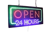 Open 24 Hours Sign, TOPKING Signage, LED Neon Open, Store, Window, Shop, Business, Display, Grand Opening Gift