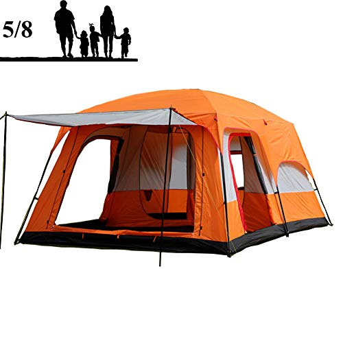 Outdoor Tent Camping Tent, 5-8 Person Family Tent with 2 Bedrooms And 1 Living Room, Waterproof And Windproof Fabric, with 5 Large Mesh Windows, The Perfect Shelter for Your Base Camp,Orange
