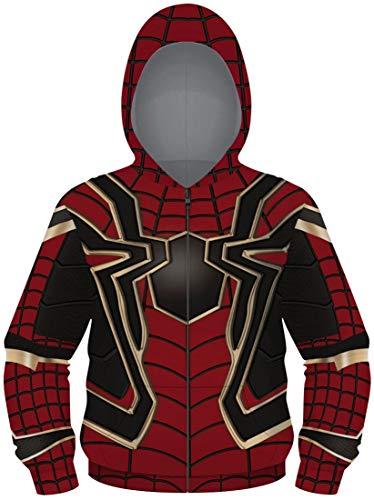 EUDOLAH Niño pequeño Chaqueta con Cremallera Suéter con Capucha 3D Impresión de Todo el Cuerpo Bolsillo(Spiderman-003a,S)