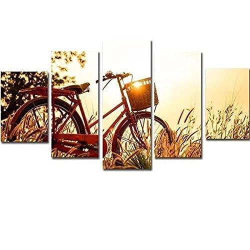 BDFDF Quadro 5 Pannelli Parete Stampe Decorazione da Parete Bicicletta E Alba Poster 5 Pannelli Quadri su Tela Moderni 5 Pezzi Stampa su Tela con Telaio 150X80Cm