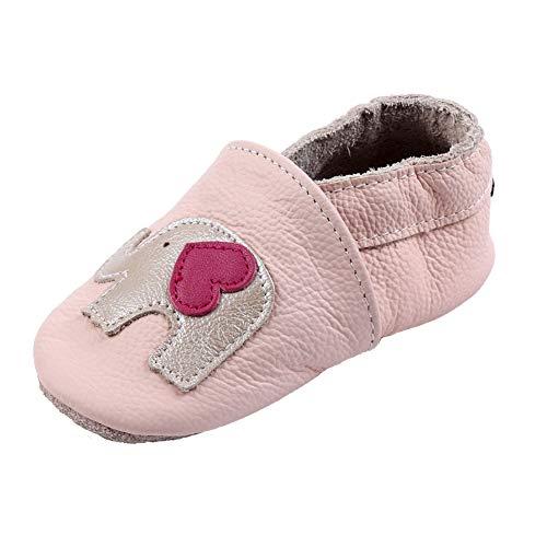 iEvolve Baby Mädchen Jungen Sterne Babyschuhe Baby Weiche Sohle Lederschuhe Baby Lauflernschuhe Krabbelschuhe(Rosa Elefant,18-24 Monate)
