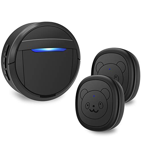 weird tails Wireless Doorbell, Dog Bells for Potty Training IP55 Waterproof Doorbell Chime Operating at 950 Feet with 55 Melodies 5 Volume Levels LED Flash (1 Receiver 2 Transmitters)