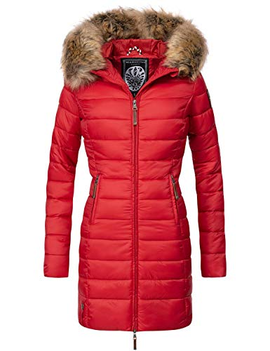 Marikoo Damen Winter-Mantel Steppmantel Rose Red Gr. M