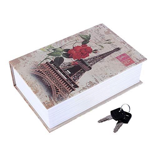 SH-RuiDu Caja de seguridad para libros de diccionario, caja de seguridad, caja de dinero en efectivo y cerradura de joyería (Torre Eiffel