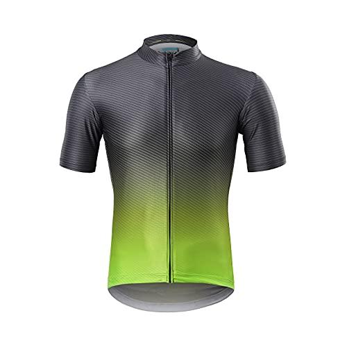 Camisetas De Ciclismo para Hombre De Manga Corta con 4 Bolsillos, Transpirable, De Secado Rápido, Color Degradado, MTB, Camisetas, Camisetas De Ciclismo para Hombre,Black Green,M