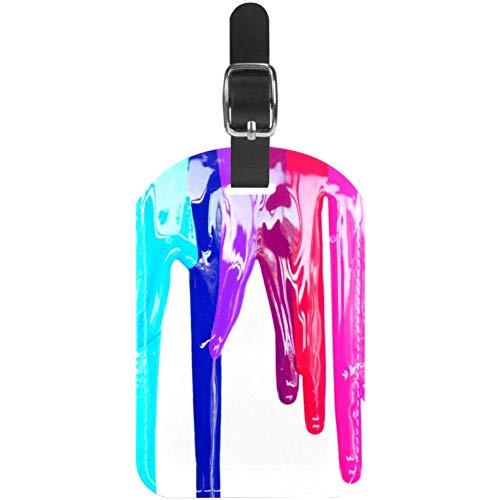Etiquetas de equipaje de colores al óleo pinturas de cuero para maleta...