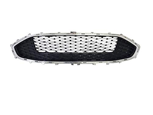 AutoModed Front Upper Bumper Grille for 2019 2020 Ford Fusion | Chrome Shell and Black Honeycomb Mesh Replacement Grill | by AutoModed