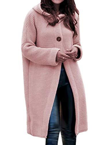 Tomwell Damen Winter Elegante Gestrickte Strickjacke Outwear Lange Verdicken Cardigan Strickmantel mit Kapuzen Winterjacke Pullover Pulli Offener Ausschnitt Rosa 40