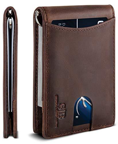 SERMAN BRANDS RFID Blocking Slim Bifold Genuine Leather Minimalist Front Pocket Wallets for Men with Money Clip Thin (Texas Brown 1.S)