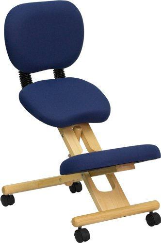 Flash Furniture Mobile Wooden Ergonomic Kneeling Posture Office Chair with Reclining Back in Navy...