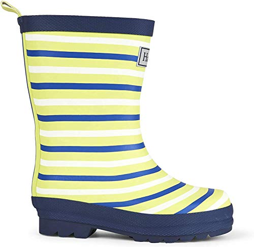 Hatley Boys' Little Rain Boots, Matte Lime Stripes, 12 US Child