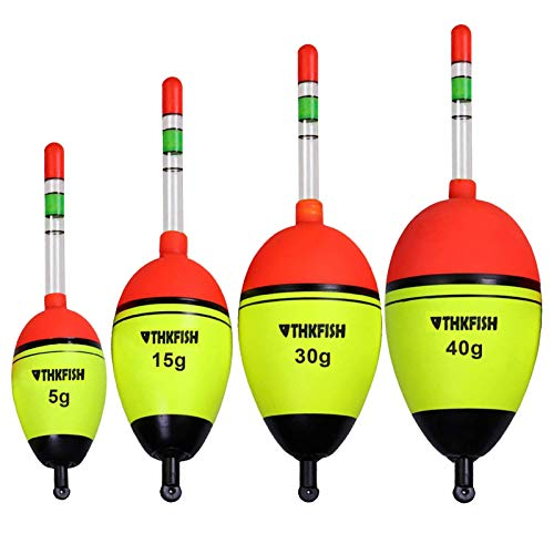 thkfish Fishing Floats Fishing Bobbers for Fishing Bobber Lights Fishing 5pcs Bobbers 1/2oz with 10pcs Glow Sticks