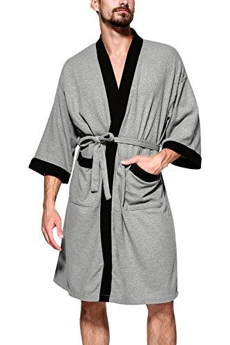 Dolamen Albornoz para Hombre y Mujer, Suave y Ligero Algodón Camisón, Robe Albornoz Dama de Honor Ropa de Dormir Pijama, para SPA Hotel Sauna (X-Large/EU L, Gris)