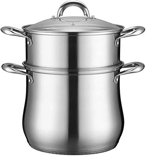 XY-M Tradición de Vapor de Acero Inoxidable de Acero Inoxidable Juego de planchas de Vapor de Vapor Pan de Viaje de Vapor con Asas de inducción Ocultar Pan para la Cocina Pot 22 cm