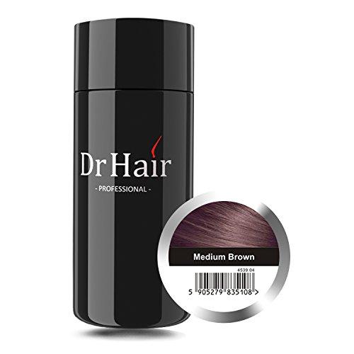 Dr Hair Fibers,Fibras de pelo,anti-caída del cabello, Queratina de pelo en pluma, Castaño Medio, 30g