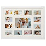 13 Opening Collage Picture Frame with Double White Mat - Displays One 4x6 and Twelve 2x3 - Wall Mounting, Landscape, Portrait - White