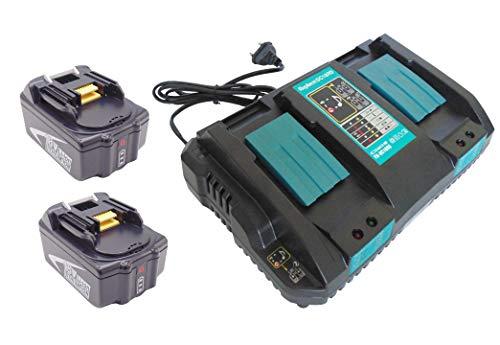 Reemplace para 2pcs batería 5.0Ah 18V para Makita BL1860 BL1840 DUR181Z BMR102 para Makita BDF452HW BJS161Z BPB180Z BUB182Z DHS710ZJ BMR100 con 4A Doble cargador rápido