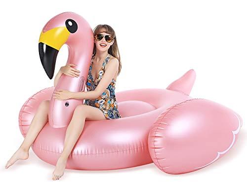 Jasonwell Riesiger Aufblasbar Flamingo Luftmatratze Aufblasbarer Flamingo Pool Floß Schwimmtier Schwimminsel Pool Spielzeug Wasserspielzeug Wasser Strand Party Kinder Erwachsene Rosa Roségold
