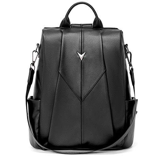 WESTBRONCO Women Backpack Purse Faux Leather Rucksack Anti-Theft Fashion Daypack Convertible Backpack School Shoulder Bags Black