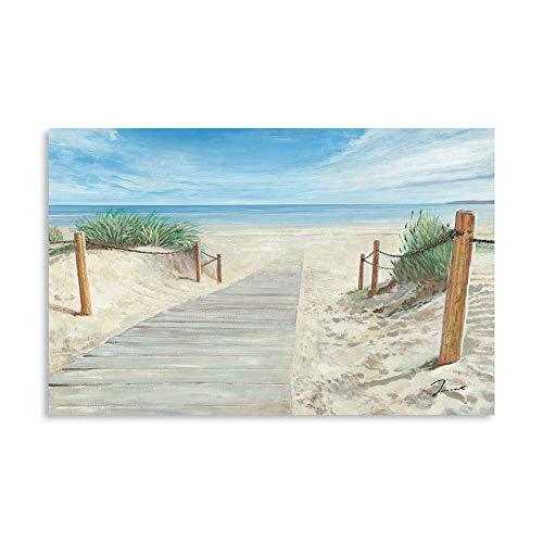 B BLINGBLING Beach Painting Wall Art, Sandy Path to Ocean Coastal Artwork, Seaside Coastal Fences Grass Picture Modern Framed Canvas Print for Wall Decor 24