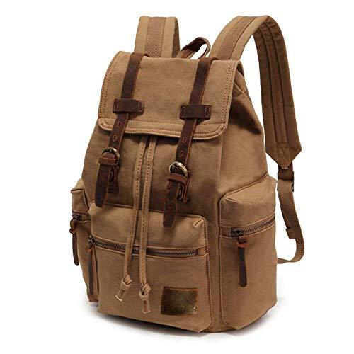 SHS Retro Rucksack Canvas Vintage Rucksack Echtleder Laptop Daypack Schulrucksack Reisetasche Lederrucksack Wasserdicht Schulterpackung für Jungen Herren Damen Mädchen (Khaki)