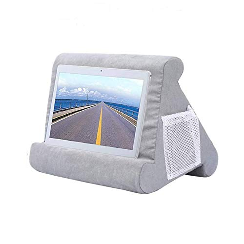 Tablet Pillow Stand for Ipad, Multi Angle Soft Pillow Lap Holder Stand, Pillow Lap Stand for Ipads, Tablets, Ereaders, Smartphones, Books, Magazines (Grey)