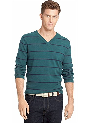 IZOD June Bug Mens Large V-Neck Striped Sweater Green L