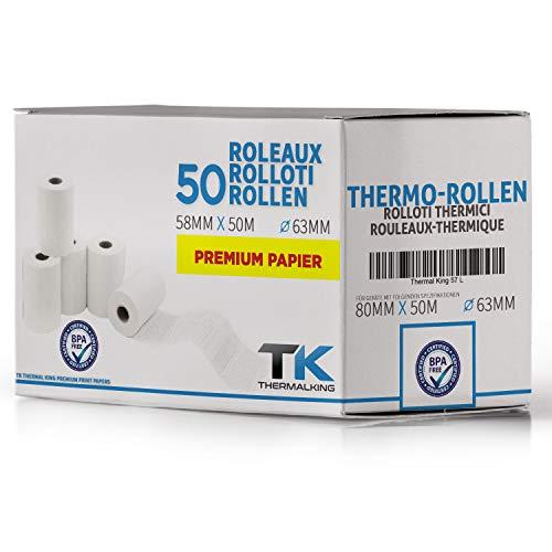 50 Stk. BPA freie Thermorollen 80mm x 63mm x 12mm – 50 m - Thermopapier Bonrollen (80 63 12) - zertifiziert für Kassen-Drucker wie Epson, IBM, Metapace uvm.