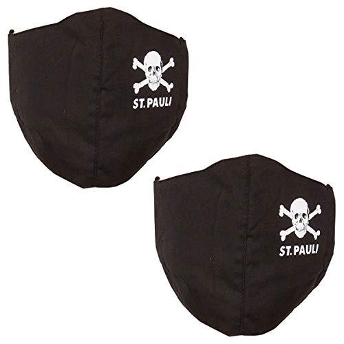 FC St. Pauli Mundbedeckung Mundabdeckung Maske Totenkopf Set schwarz 2 Stück