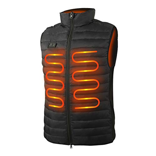 WUEAOA Lightweight Men's Heated Vest with Battery Pack - 3 Temperature Control (XL)