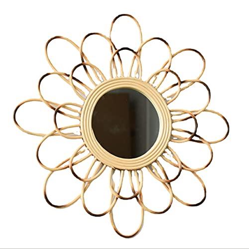 Espejo Montado En La Pared De La Pared Decorativa Rota Espejo Colgante Pared del Espejo Maquillaje Nórdico Decoración Tejida A Mano Espejo Redondo del Espejo Sala Estar, 19.7 * 7.8 Pulgadas