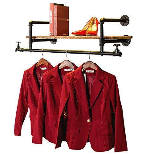 Cdbl-ijzeren kleding rekken vintage ijzeren kraan kleerhangers kledingwinkel display multifunctionele wandplanken boekenplank van massief hout hangers (maat: 110 cm) kledinghaken